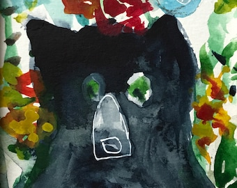 Black Bear in My Garden with Flowers #2 Art Print from original watercolor painting illustration