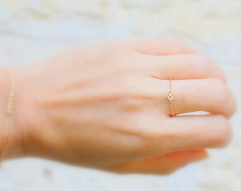 Tiny Heart Ring - 14k gold filled chain with a Tiny gold  Heart , gold ring,14k gold filled ring, Minimum Jewelry, everyday,simple gold ring
