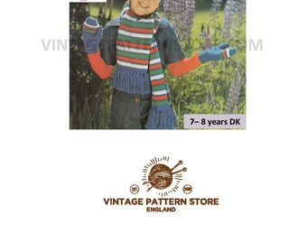 Childrens Easy to knit striped scarf mittens and hat set in DK - ages 7-8 years - Vintage PDF Knitting Pattern 1650