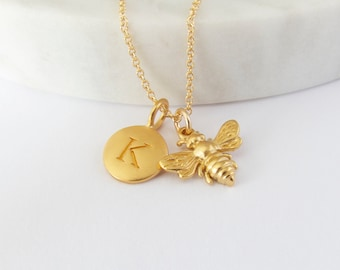 Bee and Initial Charm Necklace - Bee charm - Honeybee Pendant