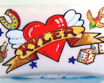 Baby Wipes Travel Case Personalized Tattoo Wings Heart Lucky Charms Handpainted