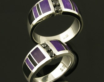 Black Diamond Wedding Ring Set with Sugilite and Black Onyx Inlaid in Sterling Silver, Sugilite Wedding Ring Set, Black Onyx Wedding Set