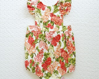 TIGER LILY PINNY Playsuit - Baby Playsuit Romper, Girls Floral Pinny Dress, Pinafore