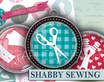 "Shabby chic Sewing Bottlecap Images Printable Bottle Cap Images 1.5"", 1.25"", 30mm, 1 inch Circles Digital Collage download - td320"
