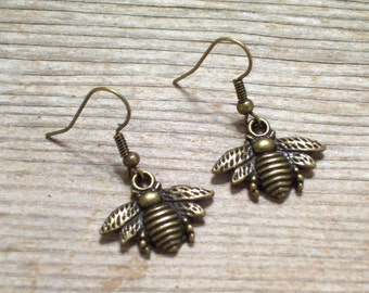 Antiqued Brass Plated Bee Earrings, Bronze Bee Insect Jewelry, Nature Earrings, Dangle Earrings