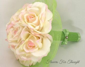Blush Rose Bouquet, Pink and Lime Green, Romantic Wedding Flowers, Bride Keepsake