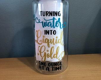 Turning water into liquid gold tumbler, 34 oz water bottle, liquid gold, breastfeeding, breast milk, mom water bottle, water tracking