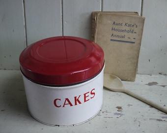 Vintage Tala Cake Tin - Red and White Cake Tin - Cake Tin - Storage Tin - Kitchen Canister - Tala Kitchen Canisters - Vintage cake tin