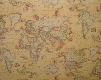 World map fabric etsy sand atlas world globe map cotton linen fabric curtain blinds craft quilting gumiabroncs Images