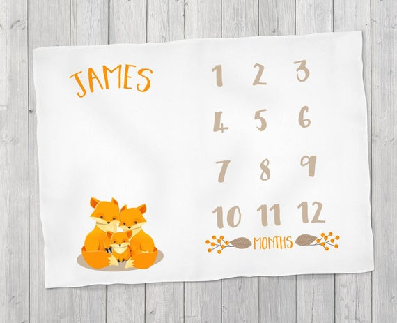 Baby month milestone blanket blossom fox mother father baby like this item negle Images