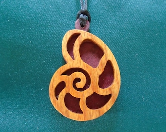 Nautilus Necklace,  Ocean inspired Jewelry, Nature Pendant, Handcrafted pendant made of canarywood and purpleheart
