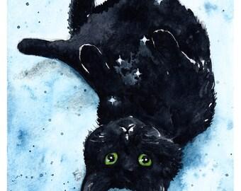 Leo Minor: Fine Art Watercolour Black Cat Print