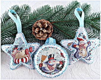 Set of 3. Christmas Felt Decorations. Christmas Felt Ornaments. Xmas. Winter Holidays Decor. Christmas Tree Ornaments.