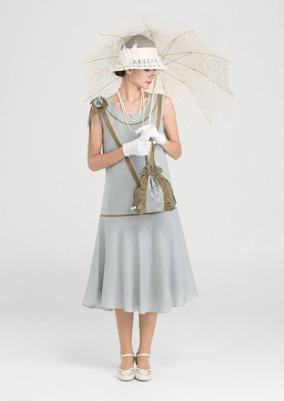 1920s Style Dresses, 20s Dresses Cute 1920s linen dress in grey & olive green with bow on shoulder 1920s flapper dress 1920s high tea dress Great Gatsby dress 20s dress $140.00 AT vintagedancer.com