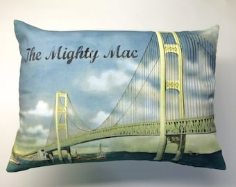 Michigan's Mighty Mac Bridge Pillow Cover with Pillow Insert