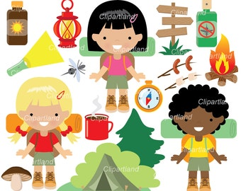 INSTANT Download. CC_21_camping_girl. Camping clip art. Personal and commercial use.