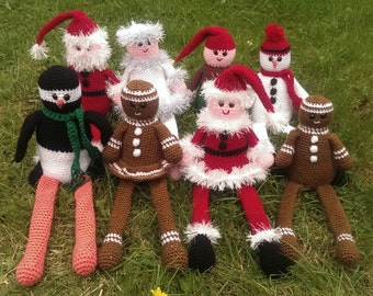 Crochet Pattern, Set of 8 Patterns, Ninja Penguin, Felicity Fairy & Syd the Snowman with other published toys, PDF with tutorials, UK terms