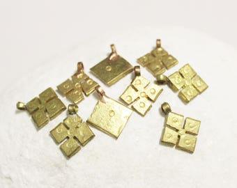 Ethiopian Coptic Cross Brass Charm Pendants (*AK35*)