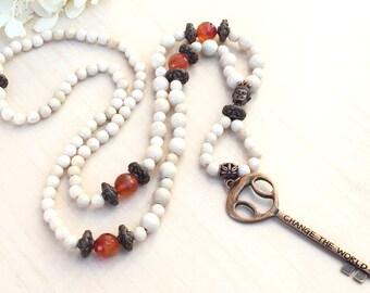 Mala Petrification,Key Change The World ,108 Mala Gemstone Zen,Jewelry Buddhist,Copper Key Wood Bead,Tibetan Zen Mala 108,Meditation Big Key