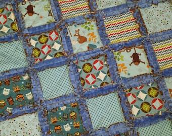 Hooty Hoot Returns Baby Blanket / Raggedy Quilt