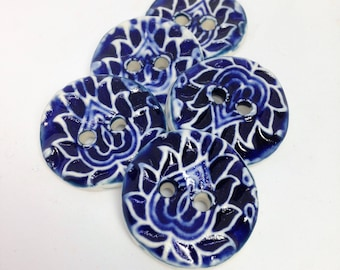 Blue Paisley Buttons, Lotus Buttons, Cobalt Blue Buttons, Coat Buttons, Statement Button, Ceramic Buttons, Sewing Buttons, Price Per Button
