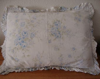 """Rachel Ashwell SHABBY CHIC Queen Pillow SHAM """"British Blue Rose"""" ruffled eyelet lace - Pillow Case - Pillow Cover - Vintage Cotton Bedding"""