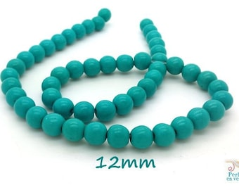 10 pearls 12mm turquoise Howlite (ph162)