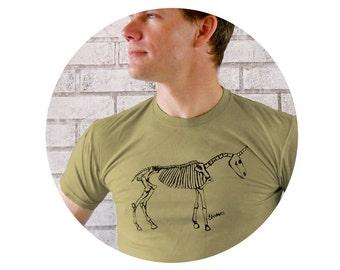 Mens Clothing, Cotton T shirt, Unicorn Skeleton Men's Crew Neck Tshirt in Light Olive, Screenprinted Graphic Tee, Hand Printed, Short Sleeve