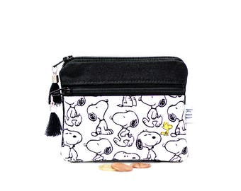 Snoopy wallet, Peanuts coin purse, Small change pouch, Card holder, Zipper pouch, Canvas, Teacher gift, Earbud case, Key bag, Kids wallet