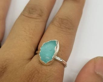 Aqua Sea Glass Sterling Ring Size 6.75