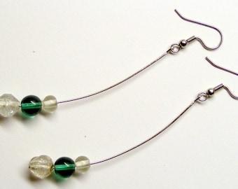 Sea Breeze Clear and Sea Green Earrings