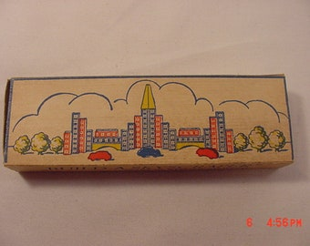 Vintage Tiny Miniature Wood Build A Skyscraper Puzzle In Original Box With Instructions  18 - 833