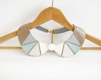 Leather Bib Necklace Mint Light Brown White Metallic Silver Peter Pan Detachable Collar Geometric Shapes Europeanstreetteam Earth Tone