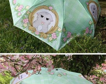 Angry Cat Rain Sun Folding Umbrella Parasol