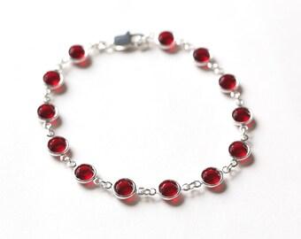 Ruby Bracelet, July Birthstone Jewelry, Ruby Red Jewelry, Crystal & Silver, July Birthstone Bracelet