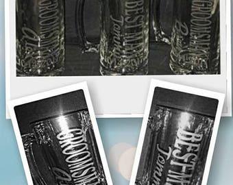 Etched Beer Mug Wedding Party Groomsman Bestman Gifts