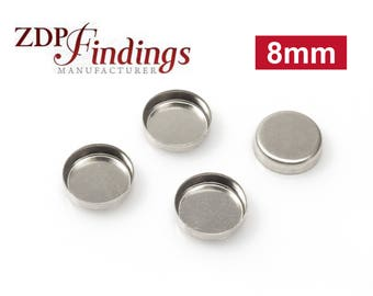 12pcs x Round 8mm Bezel Cups Sterling Silver 925 (RD80)