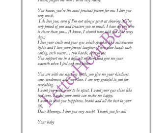 Mother gift Poem  Love letter Paper letter Romantic letter Mother day Instant Download