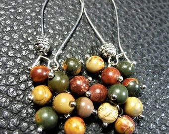Very Pretty Picasso Jasper Plated Silver Cluster Earrings