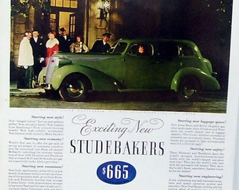 1937 Magazine Print Page Green Studebaker, Spot light Cars of 1937, Magazine Page,President Eight 965.00, Dictator Six low at 665.00