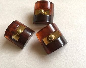 Vintage Carved Tortoise Bakelite Brass Buttons Dome Buttons Antique Buttons