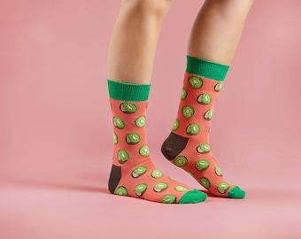 Kiwi socks | Unisex socks | fruit socks | pink socks | women socks |  colourful