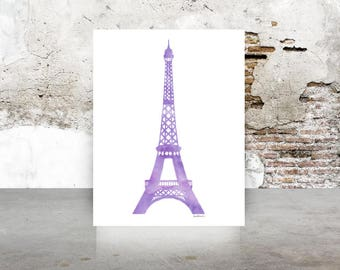 Eiffel tower art print A4 in Purple, watercolor 8.5 X 11 inches instant digital download gift for, children room, nursery, bedroom decor