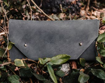 Grey Horween Leather Envelope Clutch Hand made clutch Perfect Christmas Present or Bridesmaid Gift!