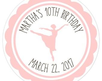 Ballerina Birthday Party Labels, Pink Ballerina Stickers, Personalized Children Stickers