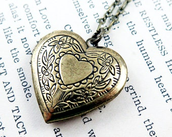 Heart Locket Necklace, Anniversary Gift for Her, Heart Pendant, Photo Locket, Victorian Heart, Wedding Gift
