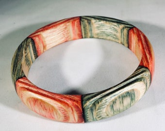 Colorful Festive Wood Turned Bracelet