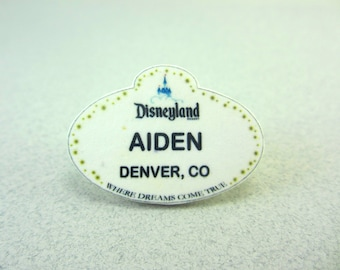 Customized Disneyland Name Tag, Disneyland Lapel Pin, Disneyland Badge, Disneyland Button