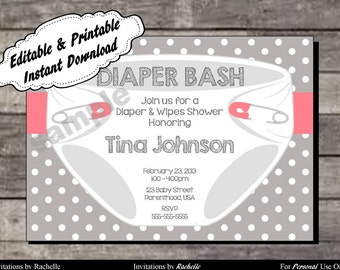 Diaper Invitation for Baby Shower or Diaper Bash Pink and Gray - Editable Printable Digital File with Instant Download
