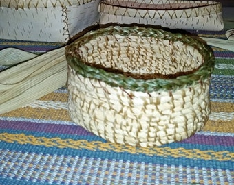 Coiled Cornhusk basket with braided Sweetgrass Rim, made in a traditional Abenaki (Northeastern American Indian) style.